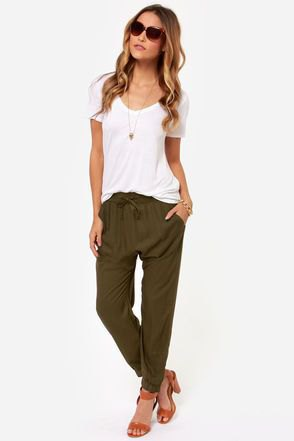 white t-shirt olive green harem pants