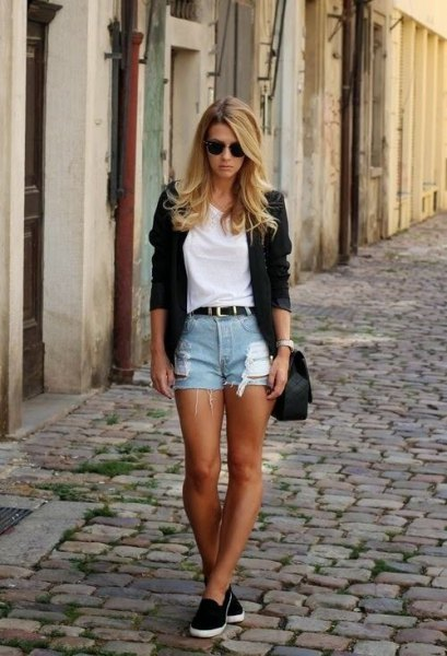 white t-shirt with black blazer and blue cut-off jeans shorts