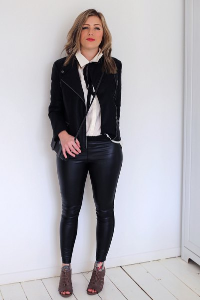 white tie neck blouse black casual blazer leather leggings