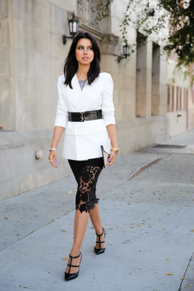 knee-length lace skirt with white tie and waist blazer