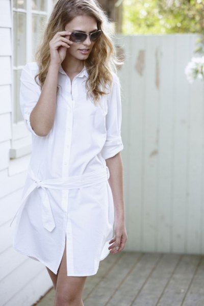 white tie shirt dress with bare sandals