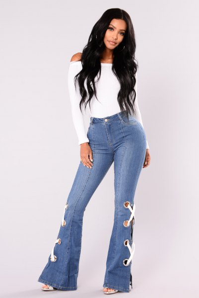 white top bell button jeans lace details