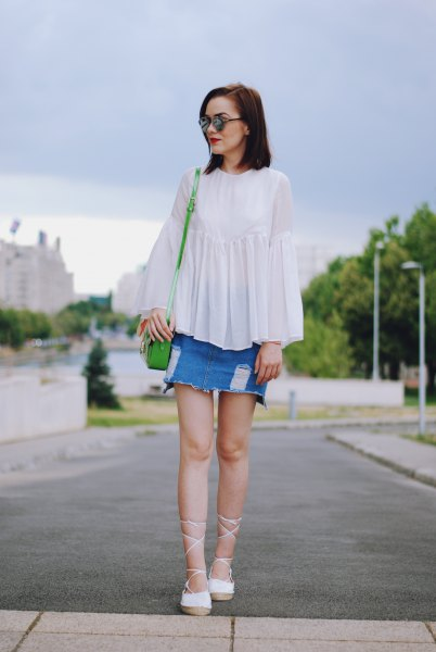 white top denim skirt with strappy heels