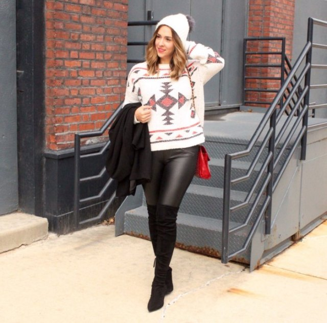 white tribal sweater with leather gaiters and overknee boots