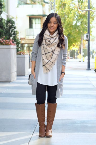 white tunic blouse with blushing pink scarf and gray longline cardigan