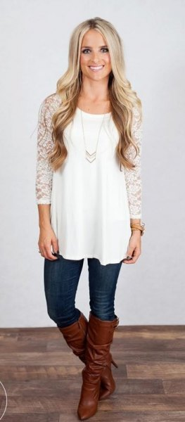 white tunic top with lace sleeves
