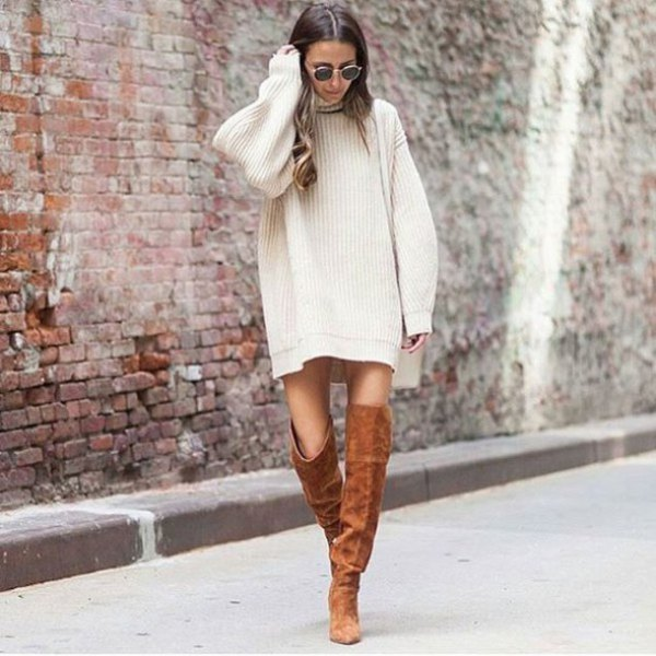white, ribbed, straight cut sweater dress with camel boots