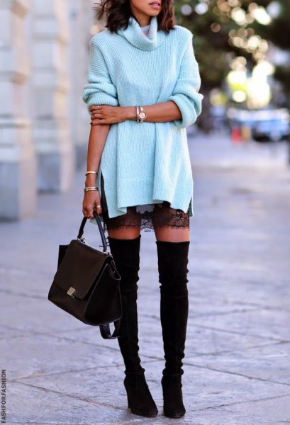 white turtleneck with black lace mini skirt