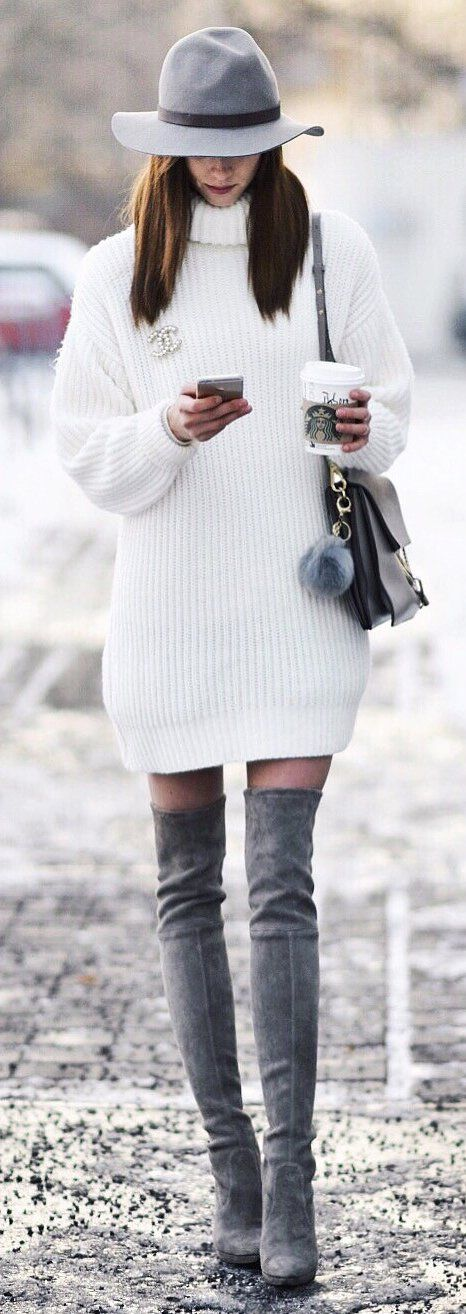 white turtleneck dress gray combination