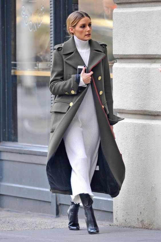 white turtleneck military coat