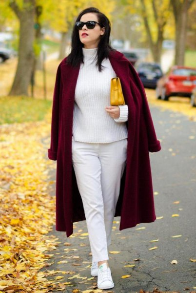 white turtleneck with a long coat and a long coat