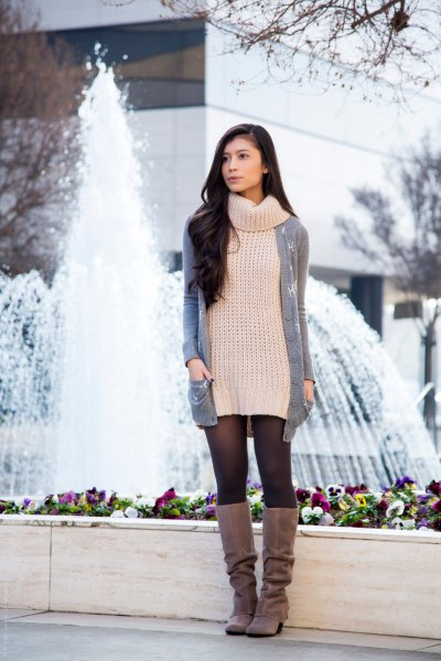 white turtleneck sweater dress with gray long cardigan