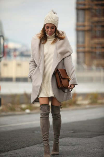 white turtleneck dress with gray wool coat