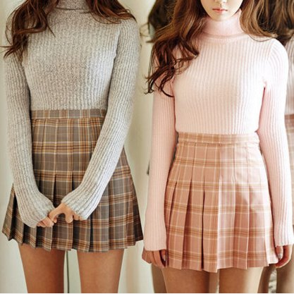 white turtleneck sweater with red checked minirater skirt