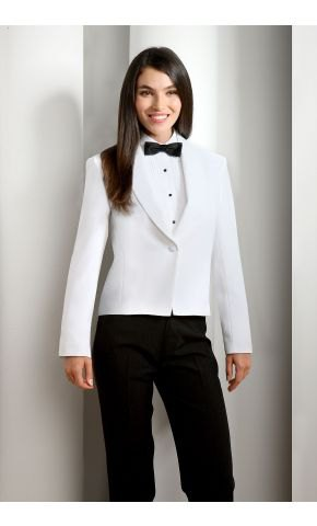 white tuxedo with black trousers and bow tie