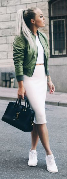 white two-piece, figure-hugging midi dress with olive-colored jacket