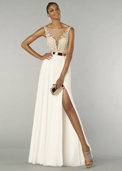 white, two-tone dress with maxi belt and high split
