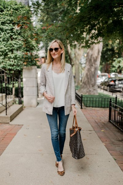 white blouse with V-neck and flats with leopard print