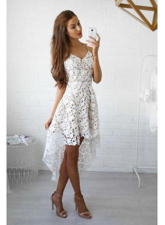 white crochet lace with V-neckline, high, deep midi dress
