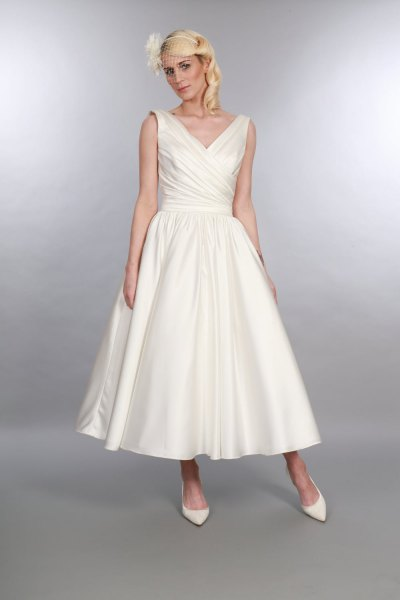 1950s style white maxi swing dress with V-neck