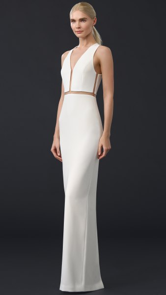 white, figure-hugging maxi dress with V-neck