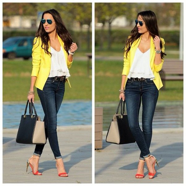 white ruffle top with V-neck and yellow jacket