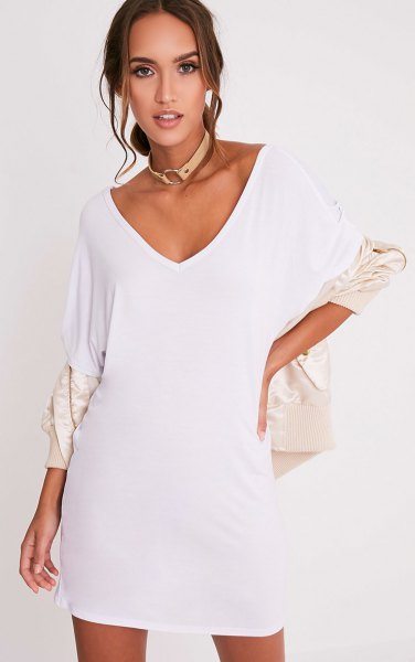 white V-neck t-shirt dress and ivory bomber jacket