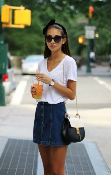 white V-neck t-shirt and skirt with jeans button on the front
