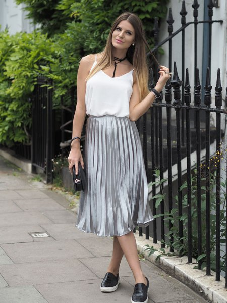 white waistcoat lace silver pleated skirt