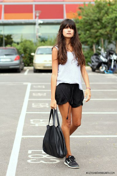 white vest top with black silk shorts