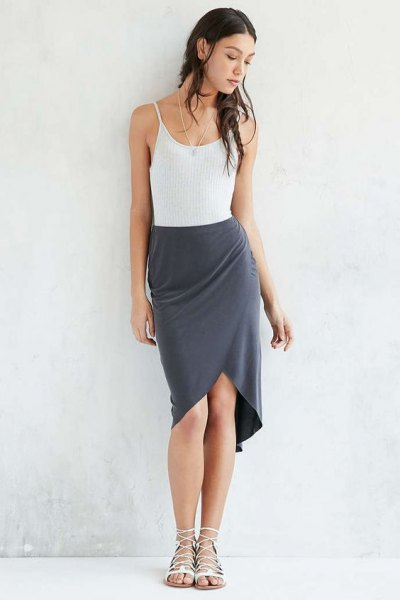 white vest top with gray silk tulip mini skirt