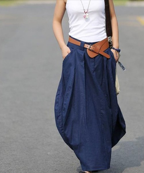 white vest top with navy maxi linen skirt
