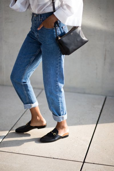 white wide-sleeved blouse with mom jeans and slippers