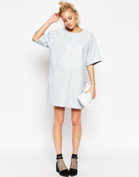 white leather t-shirt dress with wide sleeves