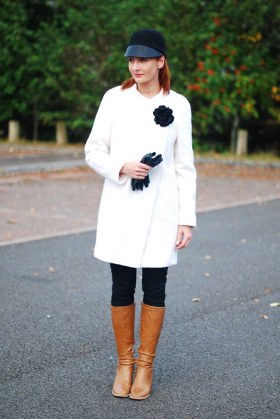 white wool coat dress outfit