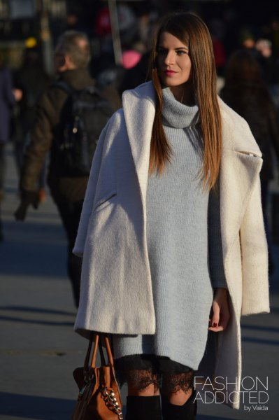 white wool coat with gray turtleneck dress