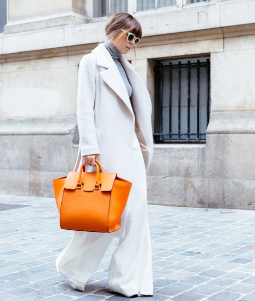 white wool coat with flared trousers