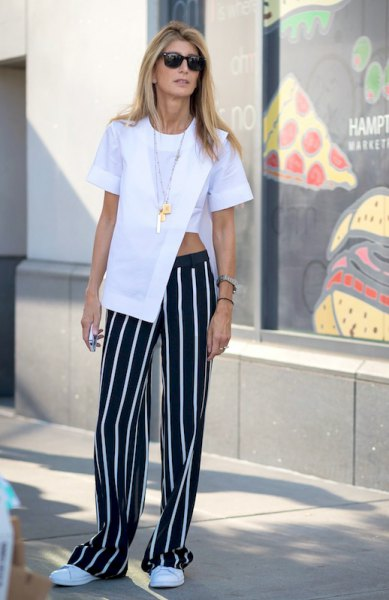 white wrap-around short-sleeved blouse