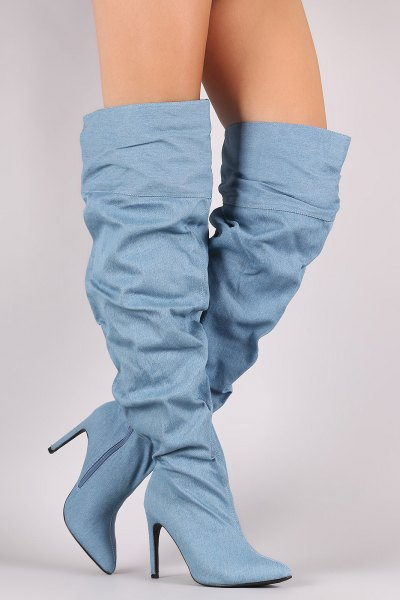 knee-high boots made of jeans with a wide calf