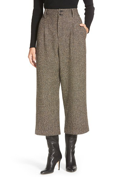 Wide leg trousers and mid-rise leather boots