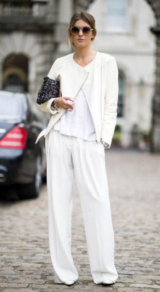 white trouser bomber with wide legs