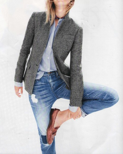 Wool blazer with a light blue shirt and ripped boyfriend jeans