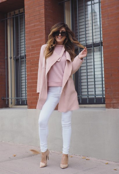 Wool coat with a fake sweater and blushing pink heels