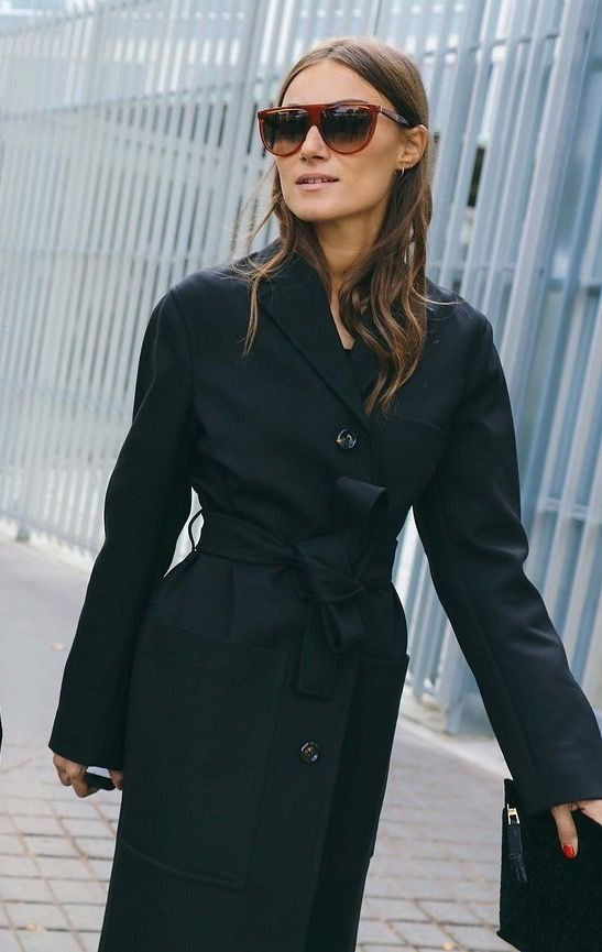Black wool wrap coat