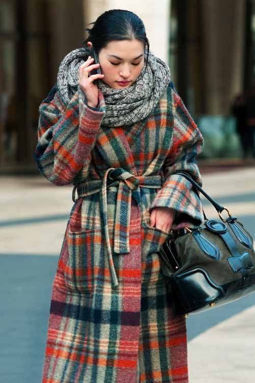 Checkered wool wrap coat