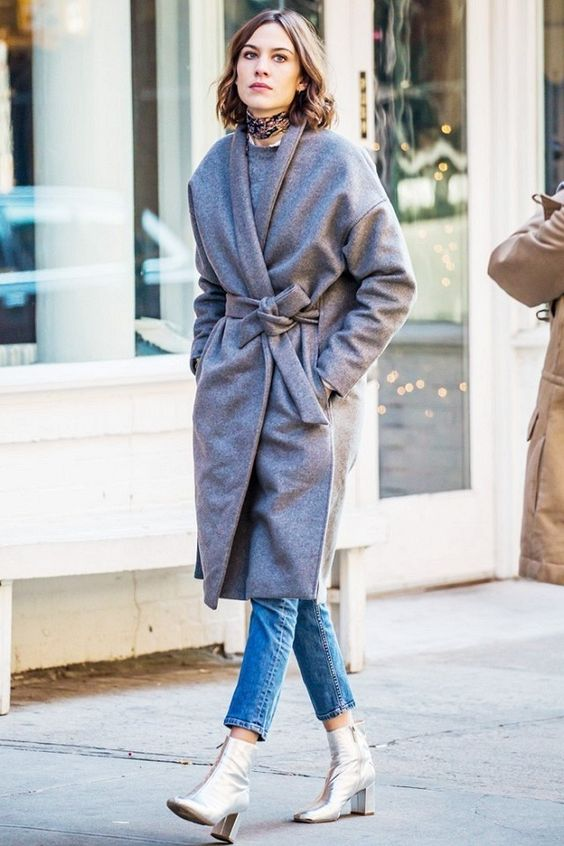 Wool wrap coat metallic shoes