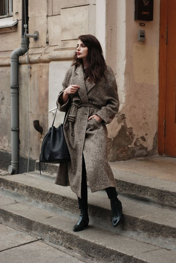Wool wrap coat retro
