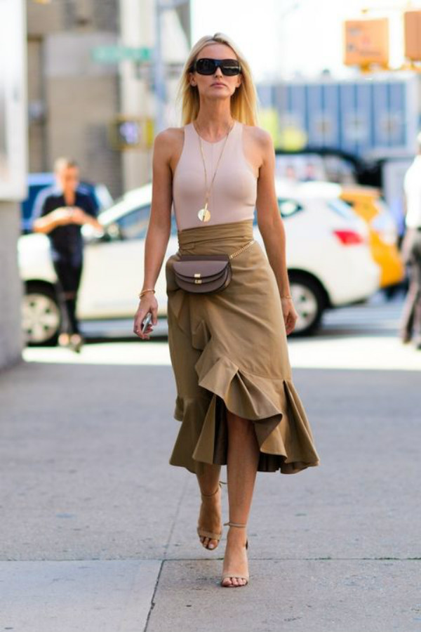 Wrap midi skirt look