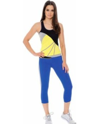 yellow and black tank top with short blue leggings