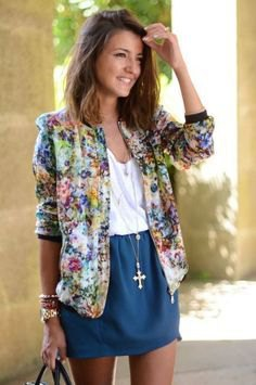 yellow and blue floral bomber jacket and blue mini skirt